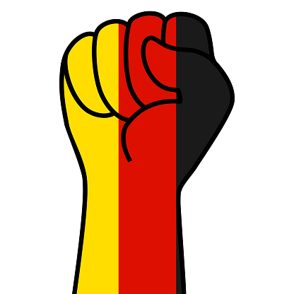 Raised german fist flag. The hand of germany. Fist shape germany flag color. Patriotic demonstration, rebel, protest, fighting for human rights, freedom. Vector flat icon, symbol for web banner, posts