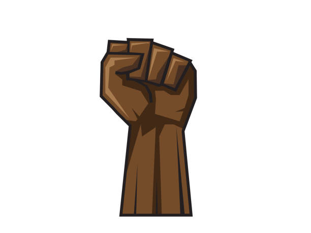 Raised hand in clenched fist. Vector Raised hand in clenched fist. Vector illustration. EPS10 civil rights stock illustrations