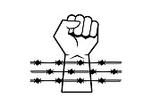 Hand silhouette with barbed wire vector. Hands behind a barbed wire prison vector. Clenched fist icon vector