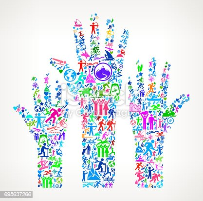 istock Raised Hands Active Lifestyle Vector Icon Pattern 695637266