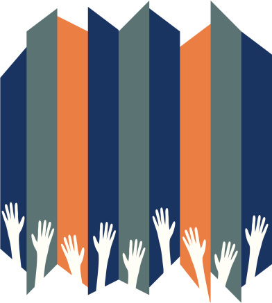 Raised hands forming a bottom border on a striped background