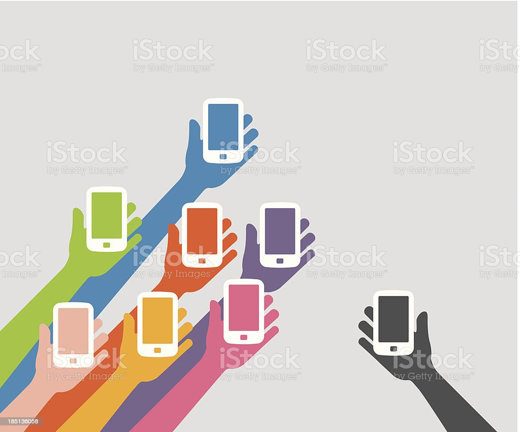 Raised hands holding the phone vector art illustration