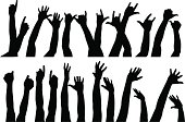 A set of raised hands. Each one is different and seperated. Aics2 and 300dpi jpg files are also included.