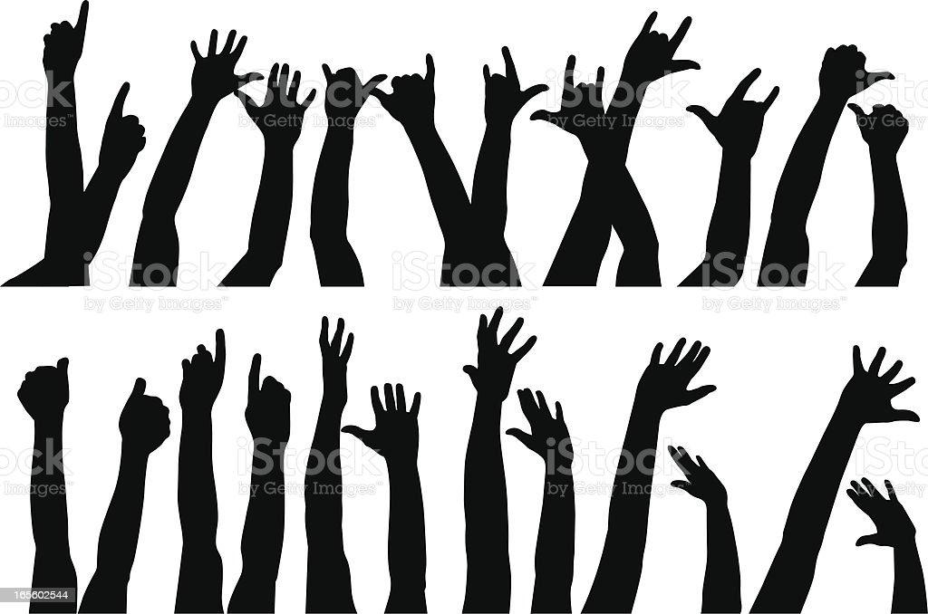 Raised hands II vector art illustration