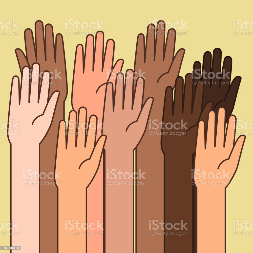 Raised Hands Illustrations for Volunteering Concept vector art illustration