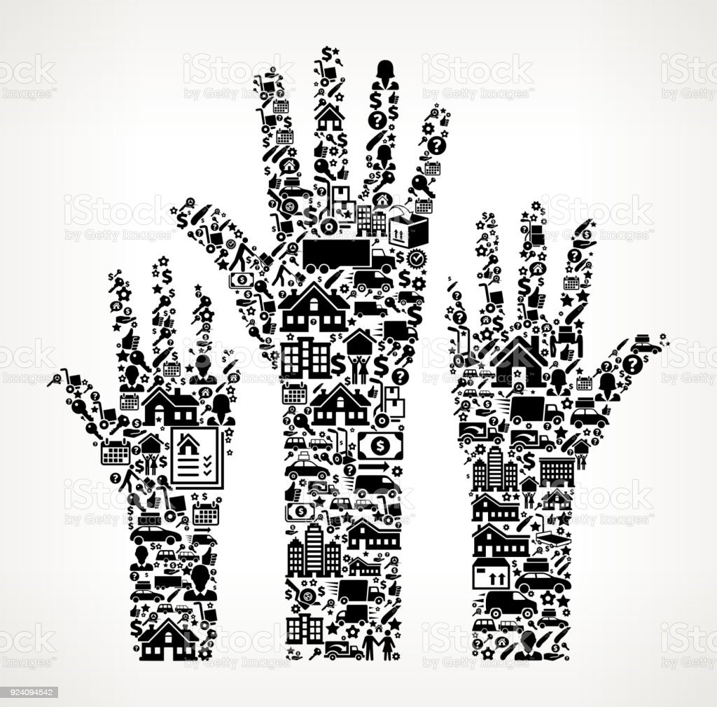 Raised Hands Moving and Relocation Icon Pattern vector art illustration