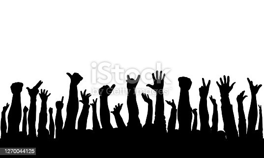 istock Raised hands of crowd of people, silhouettes. Vector illustration 1270044125