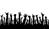 istock Raised hands of crowd of people, silhouettes. Vector illustration 1270044143
