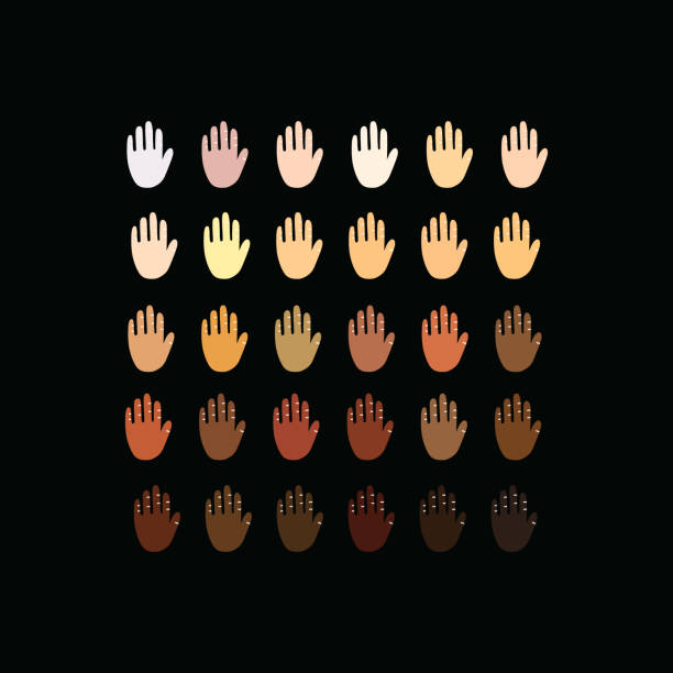 Raised hands of different race skin color. Vector illustration. hands with skin color diversity vector background. protest concept icons, social, national, racial issues symbols. toned image stock illustrations