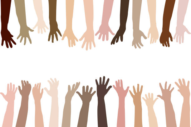 raised hands of different race skin - diversity stock illustrations