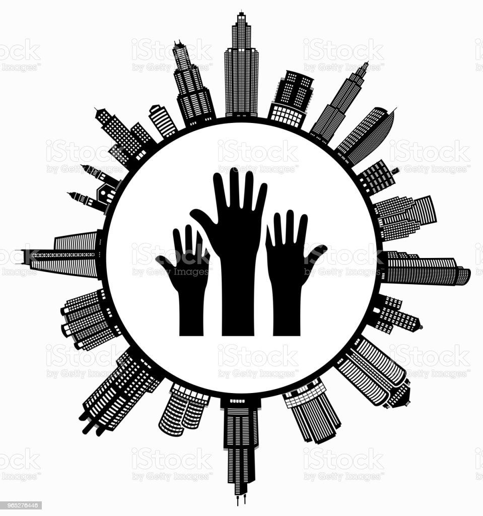 Raised Hands on Modern Cityscape Skyline Background royalty-free raised hands on modern cityscape skyline background stock vector art & more images of architecture