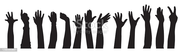 Vector silhouettes of a row of raised hands on a white background.