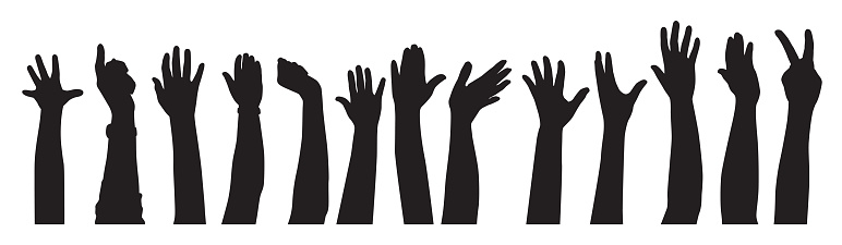 Raised Hands Sihouettes