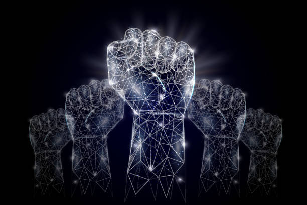 Raised hands vector geometric polygonal art background Vector polygonal art style raised up clenched fists. Low poly wireframe mesh with scattered particles and light effects on dark blue background. Raised hands poster banner design template. authority stock illustrations