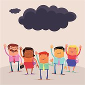 vector illustration of group of people waving to black cloud which is leavingaA|.