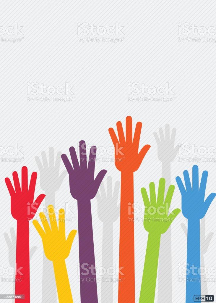 Raised Hands vector art illustration