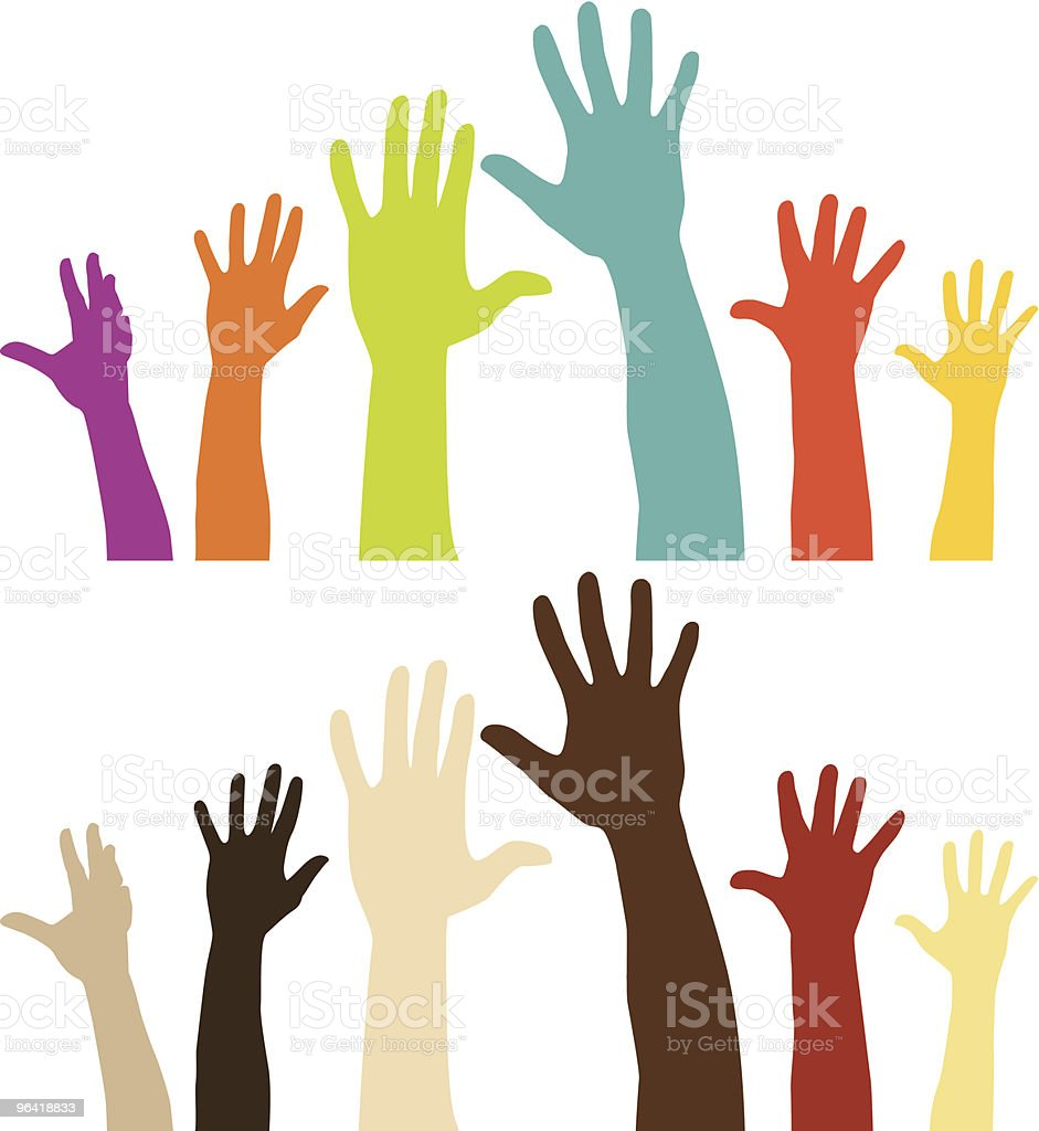 raised hands stock vector art more images of arms raised 96418833 rh istockphoto com hand vector free clip art hand logo vector free