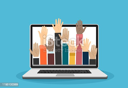 Raised hands volunteering out from laptop vector concept