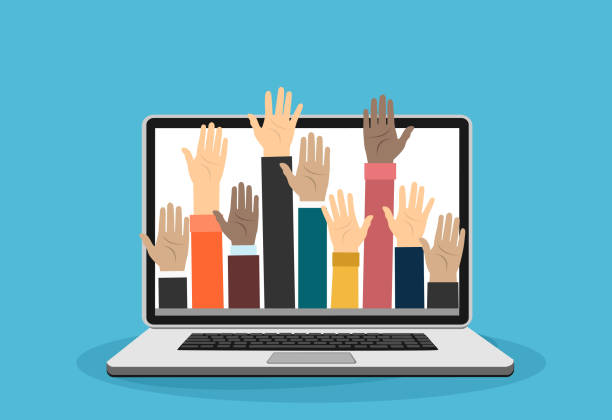 Raised hands volunteering out from laptop vector concept Raised hands volunteering out from laptop vector concept volunteer stock illustrations