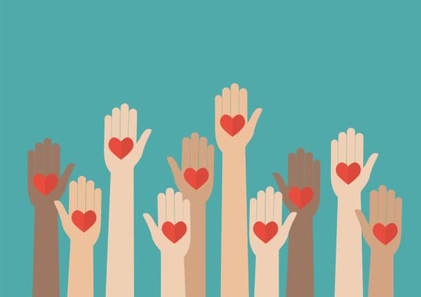 Raised hands volunteering Raised hands volunteering. Vector illustration social issues stock illustrations