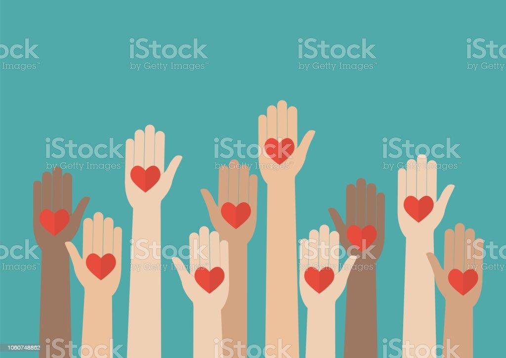 Raised hands volunteering vector art illustration