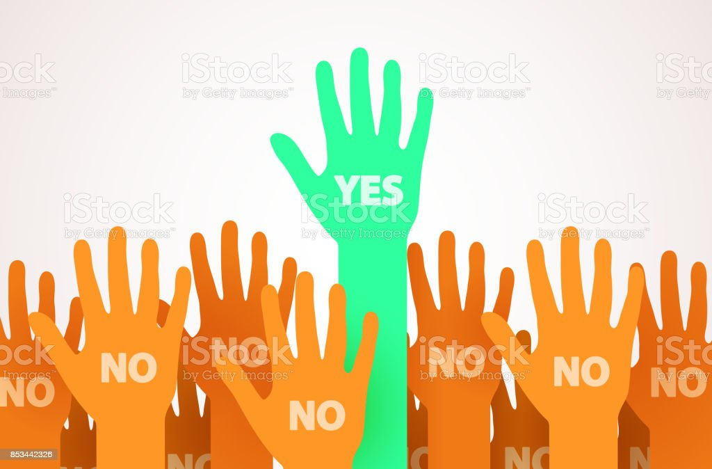 Raised hands with one individuality or unique person saying Yes. One leader of the crowd. Voting or volunteer concept. vector art illustration