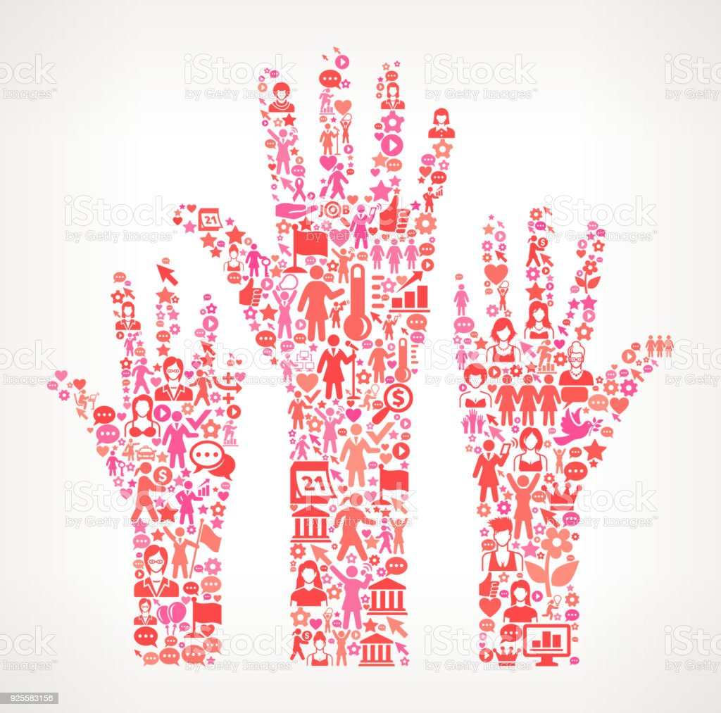 Raised Hands Women's Rights and female empowerment Icon Pattern vector art illustration