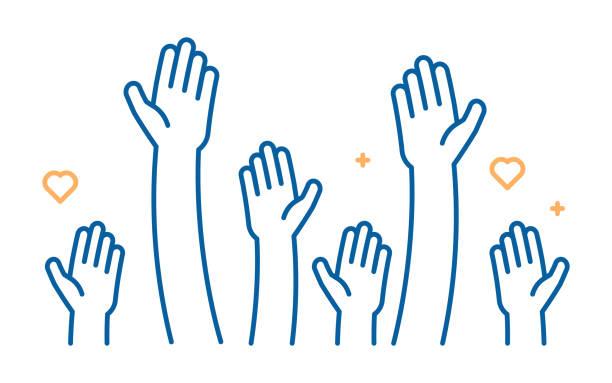 stockillustraties, clipart, cartoons en iconen met verhoogd helpende handen vector icoon. illustratie voor vrijwilligerswerk en liefdadigheid werken in platte stijl met armen en geometrische elementen, harten.  menigte van mensen klaar en beschikbaar om te helpen en bij te dragen. positieve basis, business - bedankt