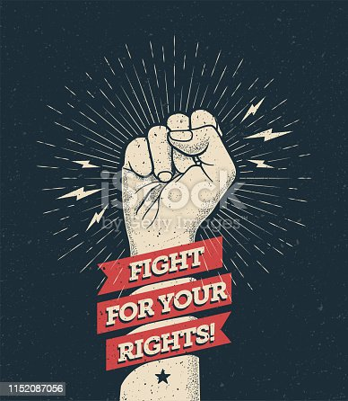 istock Raised protest arm fist with fight for your rights caption. Vector illustration 1152087056