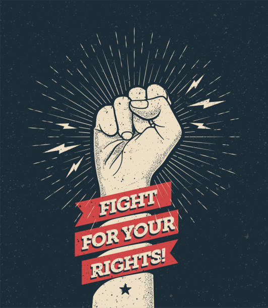 Raised protest arm fist with fight for your rights caption. Vector illustration Raised protest arm fist with fight for your rights caption. Vector eps 10 illustration equality stock illustrations