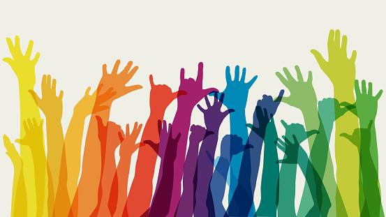Raised rainbow arms