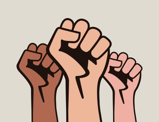 Raised three fists Raised three fists, power to the people battle of the sexes concept stock illustrations