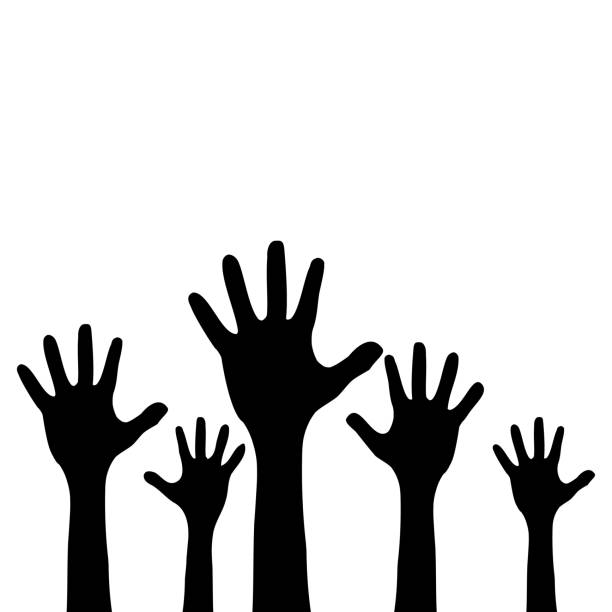 Raised up children's hands. Black silhouette. Isolated on a white background. Vector illustration Raised up children's hands. Black silhouette. Isolated on a white background. Vector illustration children only stock illustrations