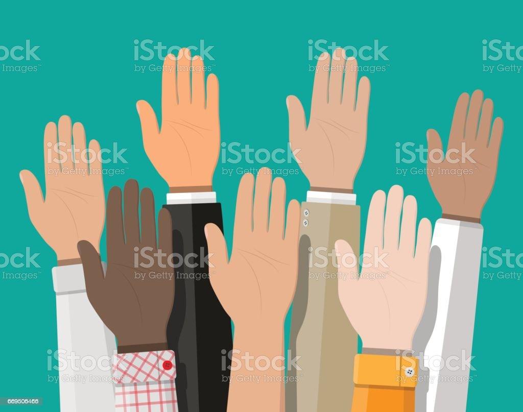 Raised up hands. People vote hands. vector art illustration