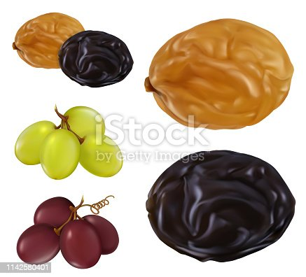 Raisin, dried grape. 3d realistic vector icon set