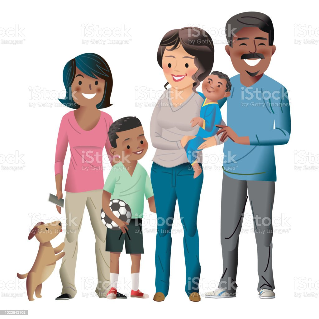 Raising 3 kids and a dog vector art illustration