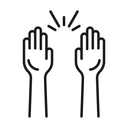 Raising hands a celebration sign flat icon for apps and websites