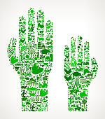 Raising Hands Icon . The green vector icons create a seamless pattern and include popular farming and agriculture. Farm house, farm animals, fruits and vegetables are among the icons used in this file. The icons are carefully arranged on a light background and vary in size and shades of green color.