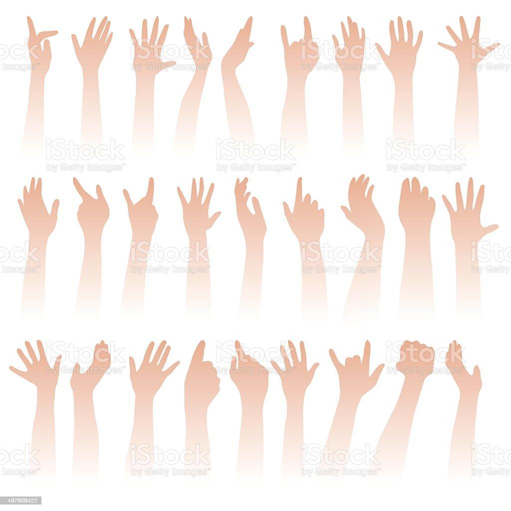 Raising hands vector art illustration