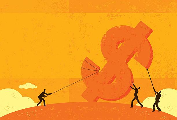 Raising Profits Businessmen raising up profits. RETROROCKET stock illustrations