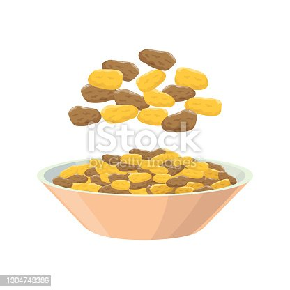 istock Raisins from different grapes in dish. Grape product, vector illustration isolated on white background. 1304743386