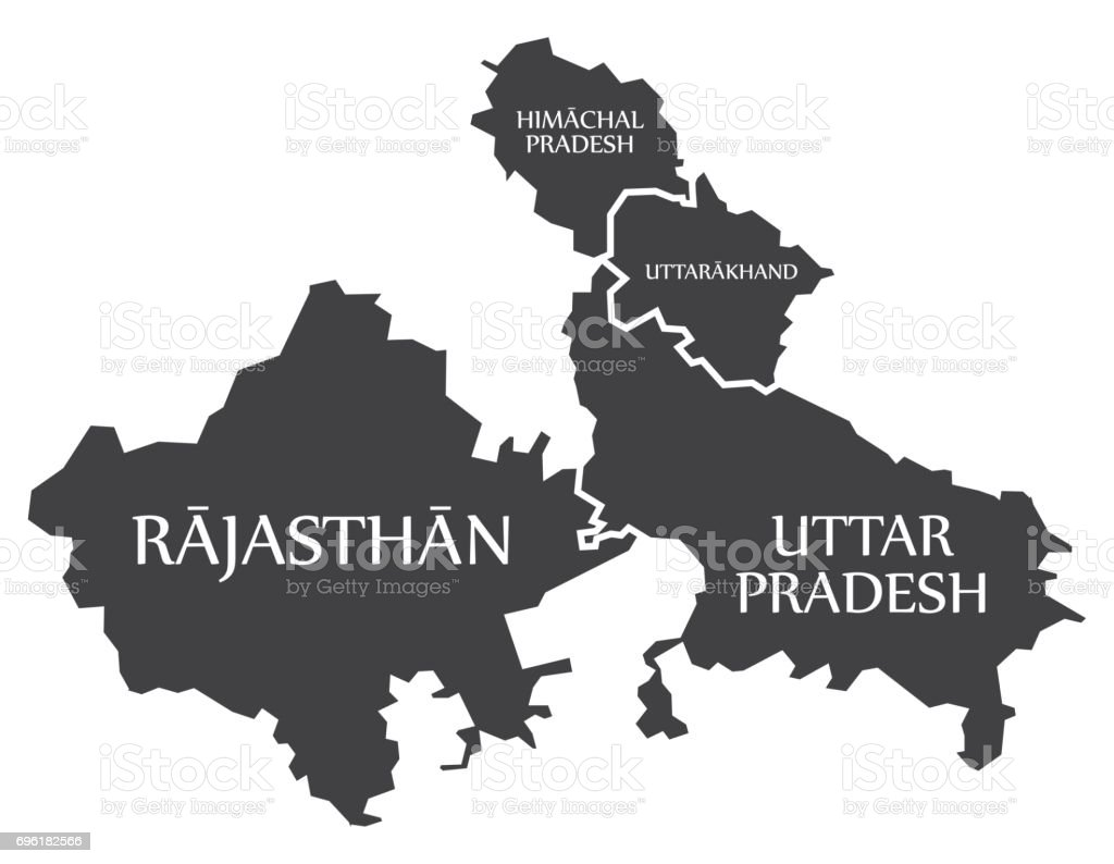 Rajasthan Himachal Pradesh Uttarakhand Uttar Pradesh Map ...
