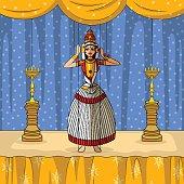 Vector design of colorful Rajasthani Puppet doing Kutiyattam classical dance of Kerala, India