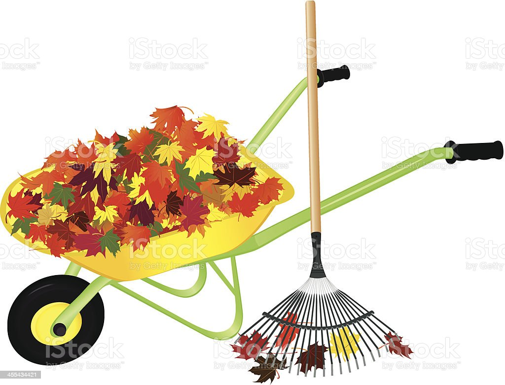 Raking Fall Leaves vector art illustration