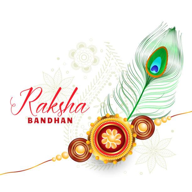ilustrações de stock, clip art, desenhos animados e ícones de raksha bandhan beautiful greeting design - pena de pássaro algodão