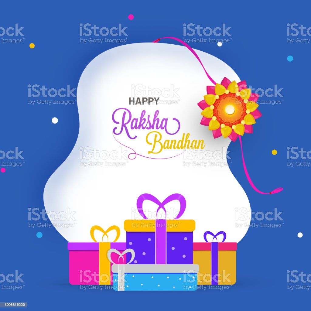 Raksha bandhan greeting card design with illustration of floral raksha bandhan greeting card design with illustration of floral rakhi and gift boxes on blue background m4hsunfo