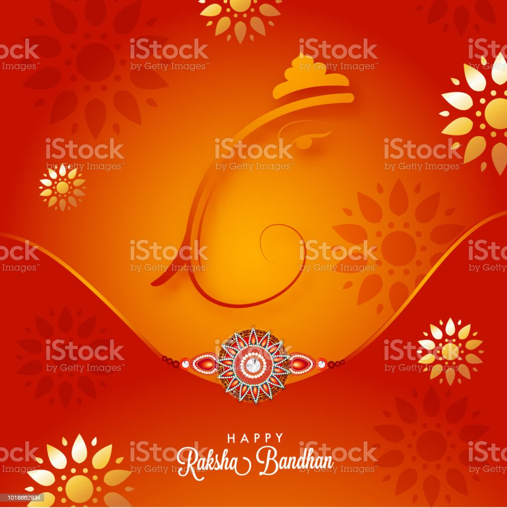 Raksha Bandhan Greeting Card Design With Lord Ganesha And Beautiful