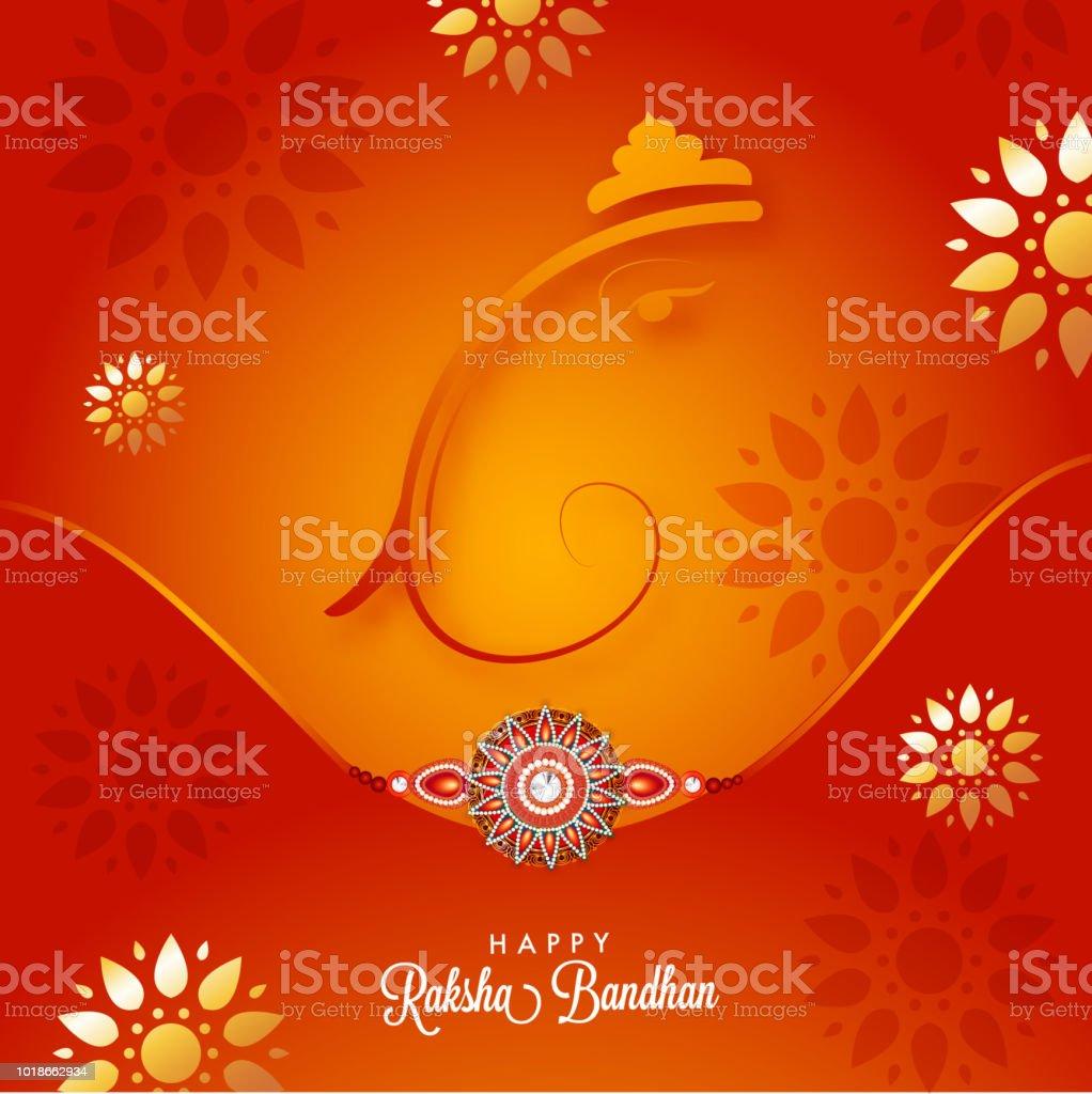 Raksha bandhan greeting card design with lord ganesha and beautiful raksha bandhan greeting card design with lord ganesha and beautiful rakhi wristband for celebration m4hsunfo