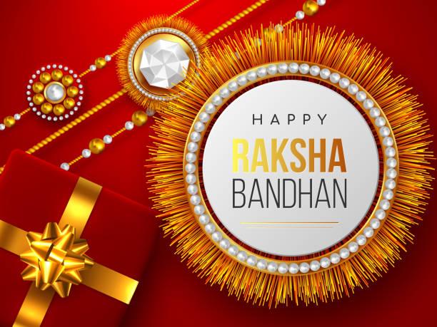 raksha bandhan roter hintergrund. - paararmbänder stock-grafiken, -clipart, -cartoons und -symbole