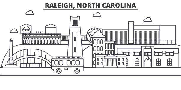 Royalty free raleigh clip art vector images illustrations istock raleigh north carolina architecture line skyline illustration linear vector cityscape with famous landmarks malvernweather
